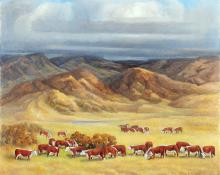 "Anna Elizabeth Keener, ""Herefords on the Range"", oil, 1963 painting for sale purchase consign auction art gallery denver colorado historical sandzen student"