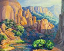 "Anna Elizabeth Keener, ""Near Moab"", Utah oil, 1970 painting for sale purchase consign auction art gallery denver colorado historical sandzen student"