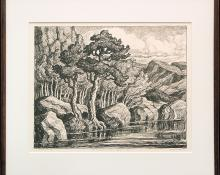 "Birger Sandzen, ""Mountain Solitude (Edition of 100)"", lithograph, 1937 painting fine art for sale purchase buy sell auction consign denver colorado art gallery museum"