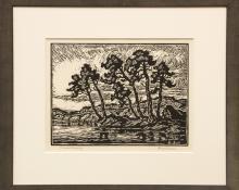 "Birger Sandzen, ""Toward Evening"", linoleum cut, 1942 painting for sale purchase consign historical old art gallery denver colorado museum auction consign appraisal"