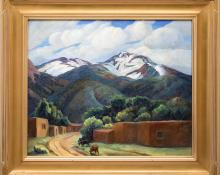"Anna Elizabeth Keener, ""Arroyo Seco - Near Taos, New Mexico"", oil, 1941 painting for sale purchase consign auction art gallery denver colorado historical sandzen student"