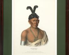 "McKenney & Hall, ""WAKECHAI - A Saukie Chief"", lithograph, circa 1837-1844 painting for sale purchase consign sell buy Denver Colorado art gallery museum auction historic antique old"