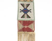 plains beaded Tobacco Bag 19th century Native American Indian antique vintage art for sale purchase auction consign denver colorado art gallery museum