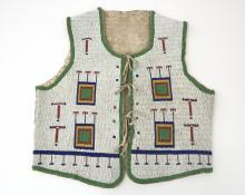 beaded Vest, Sioux, circa 1890, 19th century Native American Indian antique vintage art for sale purchase auction consign denver colorado art gallery museum