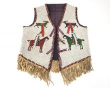 Antique beaded Plains vest sioux 19th century vintage native american indian art for sale, purchase, buy, sell auction museum denver colorado