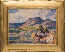 "Birger Sandzen, ""Lake in the Rockies (Colorado)"", oil painting fine art for sale purchase buy sell auction consign denver colorado art gallery museum"