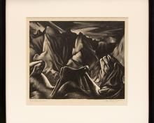 """Ross Eugene Braught, """"Bad Lands Nocturne (South Dakota)"""", lithograph, 1934 painting fine art for sale purchase buy sell auction consign denver colorado art gallery museum"""