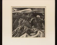 """Ross Eugene Braught, """"Tchaikovsky's Sixth (The Badlands, South Dakota)"""", lithograph, 1934, for sale purchase consign auction denver Colorado art gallery museum"""