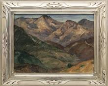 "Nellie Augusta Knopf, ""Untitled (View from a Window, Colorado)"", oil, circa 1922 painting fine art for sale purchase buy sell auction consign denver colorado art gallery museum"