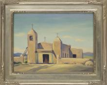 """Mildred Pneuman, """"Small Church, Taos (New Mexico)"""", oil painting fine art for sale purchase buy sell auction consign denver colorado art gallery museum"""
