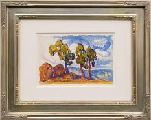 """Birger Sandzen, """"Untitled (Colorado Landscape with Red Rocks and Trees)"""", watercolor, circa 1920 painting fine art for sale purchase buy sell auction consign denver colorado art gallery museum"""