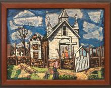 """Paul K. Kauvar Smith, """"Untitled (Colorado Chapel)"""", oil, circa 1935painting fine art for sale purchase buy sell auction consign denver colorado art gallery museum"""
