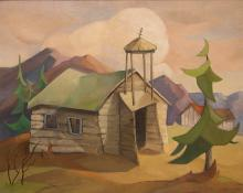 """Ruth Wahl, """"Untitled (Colorado Ruins)"""", oil, mid-twentieth century modern painting fine art for sale purchase buy sell auction consign denver colorado art gallery museum"""