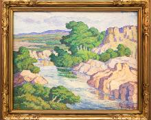 "Birger Sandzen, ""Kansas Stream (Graham County, Kansas)"", oil painting for sale denver colorado art gallery museum auction consign sell buy"