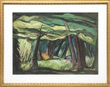 "Doel Reed, ""Mountain Grove"", casein painting for sale denver colorado art gallery museum auction consign sell buy"