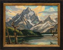 """Eliot Candee Clark, """"Untitled (The Grand Tetons and Jackson Lake)"""", oil painting fine art for sale purchase buy sell auction consign denver colorado art gallery museum"""