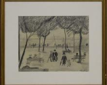 "Hilaire Hiler, ""Untitled (Park at Arcachon, France)"", graphite, 1927 painting fine art for sale purchase buy sell auction consign denver colorado art gallery museum"