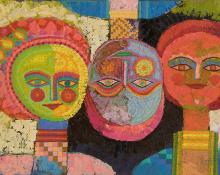 "Edward Marecak, ""Three Ladies in an Upside Down World"", oil, 1985 vintage semi abstract painting yellow, green, blue, orange, black, pink"