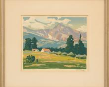 """Alfred James Wands, """"Estes Park Colorado"""" silkscreen print painting fine art for sale purchase buy sell auction consign denver colorado art gallery museum"""