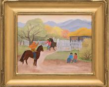 """Barbara Latham, """"For a Sunday Ride"""", oil painting fine art for sale purchase buy sell auction consign denver colorado art gallery museum"""