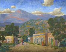 "Harold Skene, ""Santa Fe Street (New Mexico)"", vincent oil, 1969 painting fine art for sale purchase buy sell auction consign denver colorado art gallery museum"