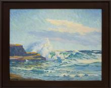 "Harold Vincent Skene, ""La Jolla (California)"", oil, 1956, painting, for sale purchase consign auction denver Colorado art gallery museum"