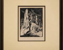 "Eve Drewelowe, ""Red Rocks - Boulder, Colorado"", woodcut (Woodblock) painting fine art for sale purchase buy sell auction consign denver colorado art gallery museum"