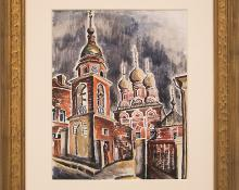 "Eve Drewelowe, ""Moscow Architecture"", watercolor, 1935 painting fine art for sale purchase buy sell auction consign denver colorado art gallery museum"