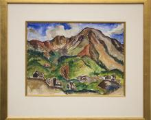 """Tabor Utley, """"Untitled (Mountain Mine, Colorado)"""", watercolor painting for sale purchase consign auction denver Colorado art gallery museum"""