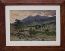 "Charles Partridge Adams, ""Scene in the Rockies"", mixed media, circa 1890"