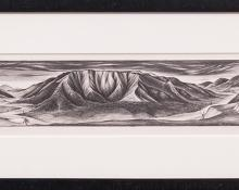 "Frank Mechau, ""Red Mountain of Glenwood (Colorado)"", lithograph, 1937 painting fine art for sale purchase buy sell auction consign denver colorado art gallery museum"