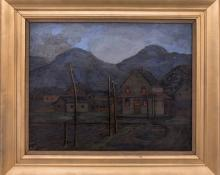 "Francis Drexel Smith, ""Evening (Colorado)"" circa 1940 oil painting fine art for sale purchase buy sell auction consign denver colorado art gallery museum"