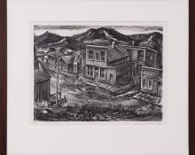 "Delmar Max Pachl, ""St. Elmo (Colorado Ghost Town)"", lithograph, August 1941 painting fine art for sale purchase buy sell auction consign denver colorado art gallery museum"