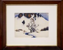 "Gene Kloss, ""Untitled (Snowy Mountain and Stream)"", watercolor (Alice Geneva Glasier) painting fine art for sale purchase buy sell auction consign denver colorado art gallery museum"