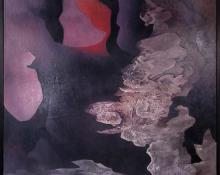"Vance Kirkland ""Coral, Amethyst and Grey (Fire and Ice)"", oil painting 1955 painting fine art for sale purchase buy sell auction consign denver colorado art gallery museum"