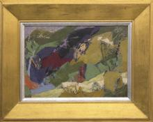 """Ethel Magafan, """"Mountain Lake"""", tempera oil painting fine art for sale purchase buy sell auction consign denver colorado art gallery museum"""
