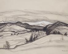 Doel Reed New mexico landscape artist national academy vintage 20th century oklahoma artist charcoal
