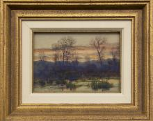 "Charles Partridge Adams, ""Evening in Autumn Near Denver (Colorado)"", watercolor, early 20th century painting fine art for sale purchase buy sell auction consign denver colorado art gallery museum"