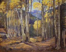 "Joseph Willis, ""At Twining Taos Mountains (New Mexico Aspens in Autumn)"", oil, circa 1930-1950roy painting fine art for sale purchase buy sell auction consign denver colorado art gallery museum"