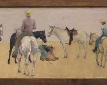 """Wolfgang Pogzeba, """"Mounted Cowboys"""", oil, 1963 painting fine art for sale purchase buy sell auction consign denver colorado art gallery museum"""