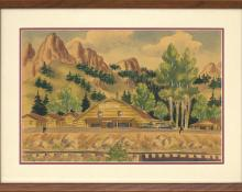"James Russell Sherman ""Blue Creek Lodge"" South Fork, Colorado vintage 1940s watercolor painting fine art for sale purchase buy sell auction consign denver colorado art gallery museum"