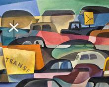 William Sanderson oil painting for sale, cars, Traffic Jam, vintage, circa 1955, orginal modernist art