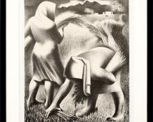 """Kenneth Miller Adams, """"Harvest (Reapers)"""", lithograph, circa 1941, vintage art for sale, wheat, modernism, modern, female figures, black & white, new mexico"""