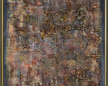 Pawel August Kontny, abstract painting for sale, Oracle, Ancient Memories Series, mixed media, circa 1970's, colorado art, mid-century modern, vintage painting