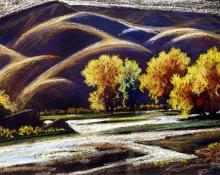 "Albert H. Schmidt, ""Untitled (Mountain Landscape)"", pastel on paper, c. 1940"