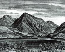 """Adolf Arthur Dehn, """"Twin Lakes"""", lithograph"""