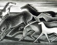 "Frank Mechau, ""Wild Horses"", lithograph, 1930"