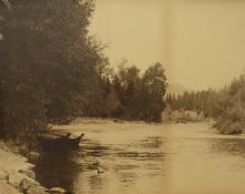 "Indiscernible Artists name/not signed, ""Nootka canoes by the Riverside"", photograph, c. 1910"