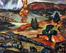 """Josef Bakos, """"Vaqueros Canyon"""", oil, c. 1919"""