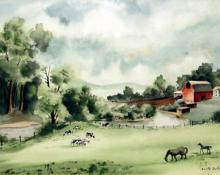 "Adolf Arthur Dehn, ""Untitled (Farm by a River)"", watercolor on paper, 1938"